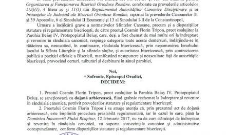"""Sancţionat pentru mărturisire, Părintele Cosmin Tripon răspunde: """"Dojana este lipsită de temei canonic, nepomenirea continuă"""""""