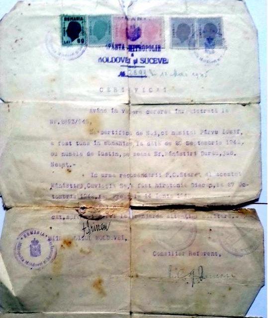 ARHIVĂ: Un act ce dovedește hirotonia Părintelui Justin Pârvu