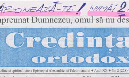 Revista Credința ORTODOXĂ nr. 228 – 2 pe februarie 2016