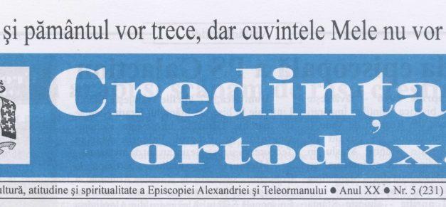 Revista Credința ORTODOXĂ nr. 231 – 5 pe mai 2016