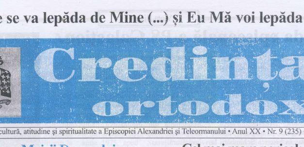Revista Credința ORTODOXĂ nr. 235 – 9 pe septembrie 2016