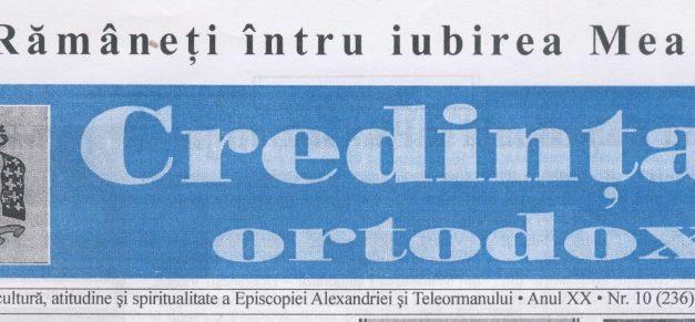 Revista Credința ORTODOXĂ nr. 236 – 10 pe octombrie 2016