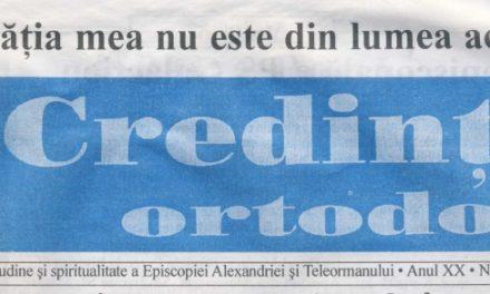 Revista Credința ORTODOXĂ nr. 237 – 11 pe noiembrie 2016