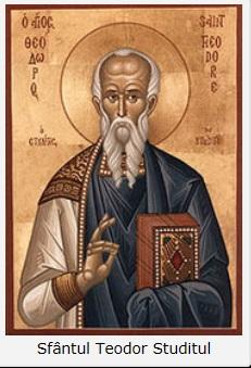 """Sfântul Teodor Studitul: """"Din momentul în care blasfemia eretică a devenit clară, evidentă şi consacrată sinodal, să vă feriţi cu îndrăzneală de orice comuniune bisericească cu cei de rea-credinţă şi să nu pomeniţi niciunul dintre cei ce au participat la sinod sau sunt într-un cuget cu deciziile acestuia"""""""