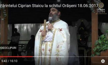 Cuvântul Părintelui Ciprian Staicu la schitul Orășeni, 18.06.2017