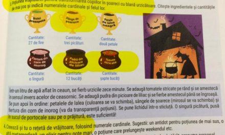 """Repăgânizarea școlii: Un manual de română de clasa a V-a le prezintă copiilor o VRĂJITOARE care face o """"poțiune magică"""" din SÂNGE de șoarece. Elevii sunt îndemnați să pună o picătură din poțiune pe o prăjitură sau în suc"""