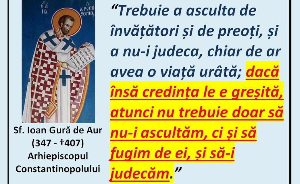 """Sfântul Ioan Gură de Aur – despre atitudinea ortodoxă în fața """"sinoadelor"""" eretice"""