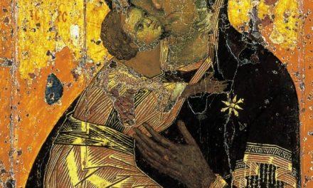 Icoana Maicii Domnului din Vladimir pictată de Sfântul Evanghelist Luca din blatul de la masa la care Mântuitorul a mâncat împreună cu Pururea Fecioara Maria și dreptul Iosif. Maica Domnului văzând Icoana a exclamat: Iată de acum mă vor ferici toate neamurile. Harul Fiului meu și al meu va fi cu această Icoană