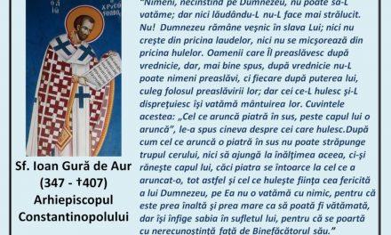 """""""Tu vii la mine cu sabie şi cu suliţă şi cu pavăză, iar eu voi merge la tine întru numele Domnului Dumnezeului Savaot, pe Care L-ai ocărât astăzi"""" – Sf. Ioan Gură de Aur"""