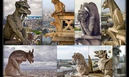 Elemente decorative de pe zidurile catedralei papistașe Notre Damme din Paris:
