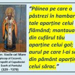 """Sf. Ier. Vasile cel Mare: """"Pâinea pe care o păstrezi în hambarele tale aparține celui flămând…"""""""
