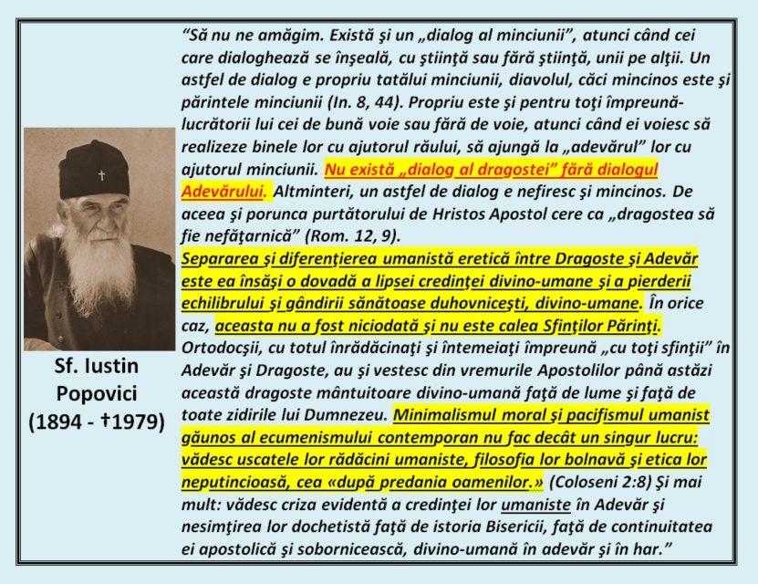 """""""Nu există """"dialog al dragostei"""" fără dialogul Adevărului."""" – Sfântul Iustin Popovici"""