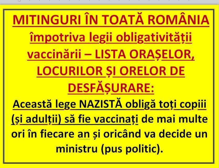 MITINGURI ÎN TOATĂ ROMÂNIA împotriva legii obligativității vaccinării – LISTA ORAȘELOR, LOCURILOR ȘI ORELOR DE DESFĂȘURARE: