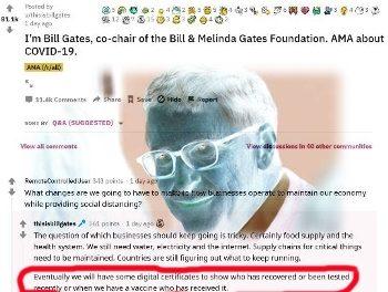 """Postare Bill Gates pe Reddit 18-03-2020: """"Când va apare vaccinul anti-coronavirus, vor exista certificate digitale pentru cei care s-au vaccinat"""". Adică, tatuaje invizibile sub piele…"""