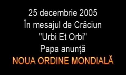"""Papa anunță NOUA ORDINE MONDIALĂ în mesajul """"Urbi Et Orbi"""" – 25 decembrie 2005"""