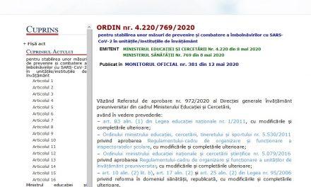 Iată ce spune Ordinul nr. 4.220/769/2020 deja publicat în MONITORUL OFICIAL nr. 381 din 12 mai 2020 că se va întâmpla cu copiii noștri !!!