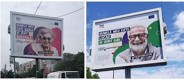 Campanie stradală finanțată de UE cu actori care se dau drept bătrâni bisexuali și homosexuali în București. Jurnalistul Paul Andrei a sesizat autoritățile din Sectorul 6 al Capitalei