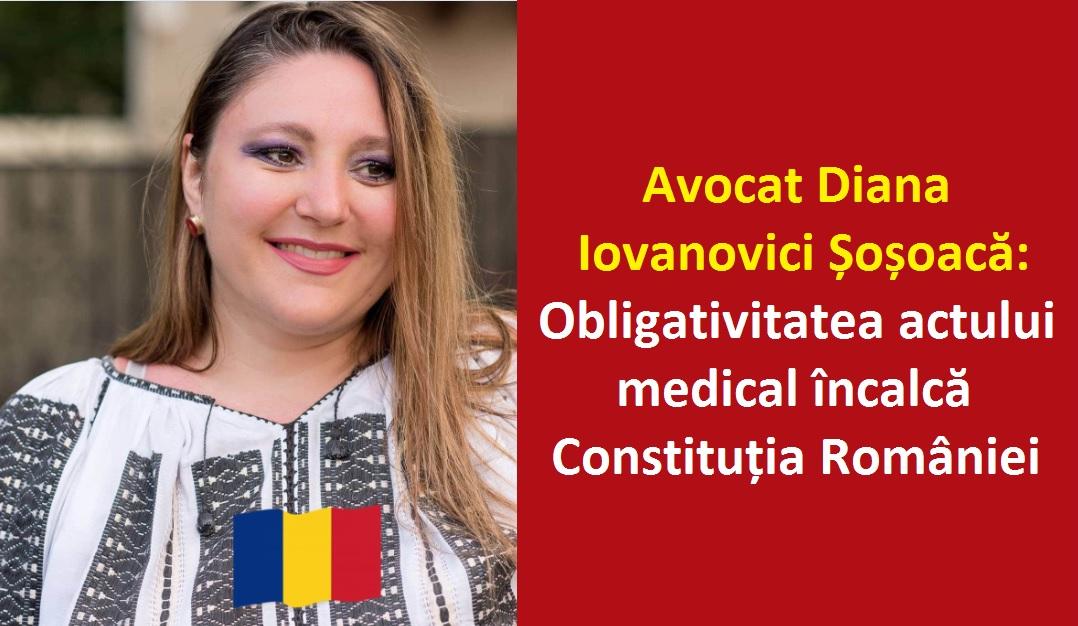 Obligativitatea actului medical încalcă Constituția României, iar peste Constituție nu se trece. Refuzați! (Inteviu cu Avocat Diana Iovanovici Șoșoacă)