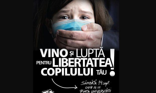 Protestul anti mască – 19 septembrie. Mișcarea Civică pentru o Școală Normală le solicită miniștrilor Sănătății și Educației să revoce ordinul comun prin care impun măsuri excesive pentru desfășurarea activității în unitățile de învățământ preuniversitar
