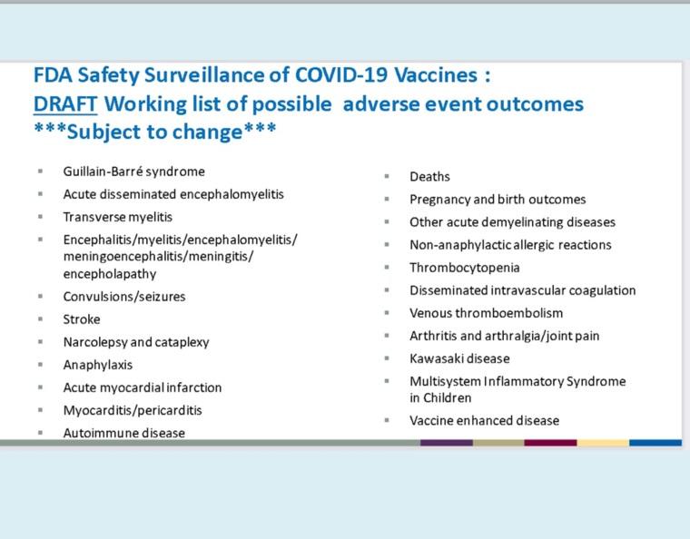 Documentele care conțin lista efectelor adverse cauzate de vaccinurile anti-COVID-19
