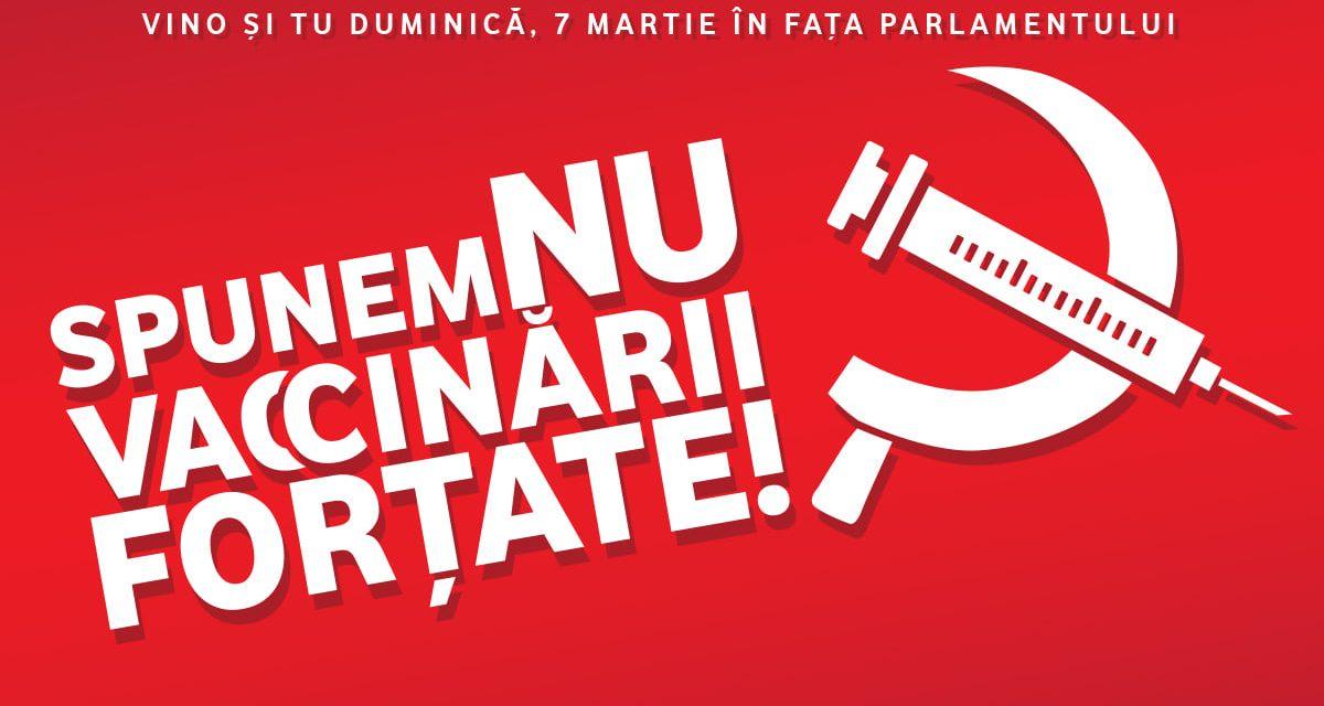 Mai hotărâți decât oricând, în număr cât mai mare, SPUNEM NU VA€€INĂRII FORȚATE! – lângă Parlament – Parcul Izvor – DUMINICĂ, 7 MARTIE 2021, de la ora 15.00