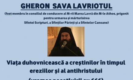 Înregistrarea conferinței GHERON SAVA LAVRIOTUL cu tema: Viața duhovnicească a creștinilor în timpul ereziilor și al antihristului (vremea pecetluirii cu 666) – București, 16 iunie 2021 (video)