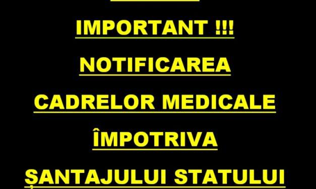 NOTIFICAREA CADRELOR MEDICALE – distribuiți fiecărui medic și cadru medical care este condiționat de către angajator să se vaccineze și să se testeze !
